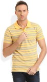 HW Striped Men's Round Neck Yellow T-Shi...