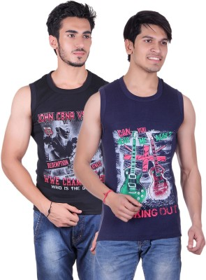 White Moon Printed Men's Round Neck Black, Blue T-Shirt