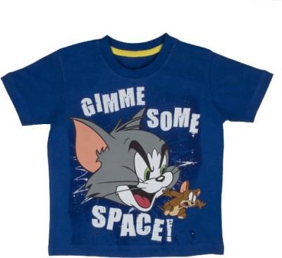 Tom & Jerry Printed Baby Boy's Round Neck Blue T-Shirt