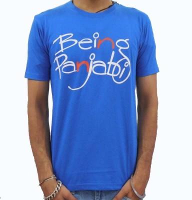 Chardikala Printed Men,s Round Neck Blue T-Shirt