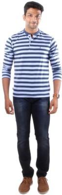 Indian Terrain Striped Men's Henley Blue T-Shirt