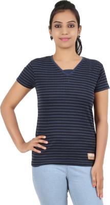 Recca Striped Women,s V-neck Dark Blue, Black T-Shirt