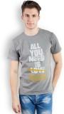 TOMO Printed Men's Round Neck Grey T-Shi...