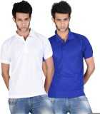Whistle Solid Men's Polo Neck White, Blu...