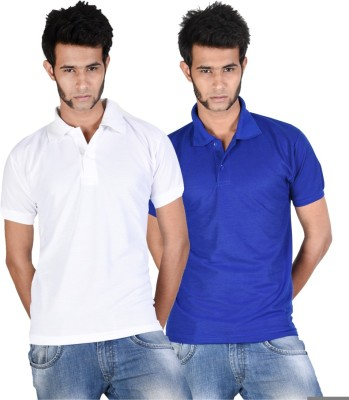 Whistle Solid Men's Polo Neck White, Blue T-Shirt
