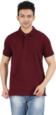 Maniak Solid Men's Polo Neck Maroon T-Shirt
