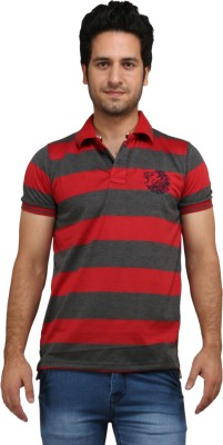 Rags Style Striped Men's Polo Red T-Shirt