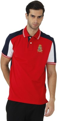 Fahrenheit Solid Men's Polo Neck Red, Dark Blue T-Shirt