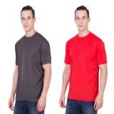 Randier Solid Men's Round Neck Grey, Red...