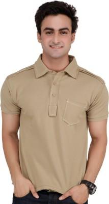 Monteil & Munero Solid Men's Polo Beige T-Shirt