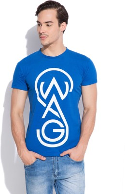 Silly People Graphic Print Men's Round Neck Blue T-Shirt