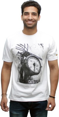 CAT Printed Men's Round Neck White T-Shirt