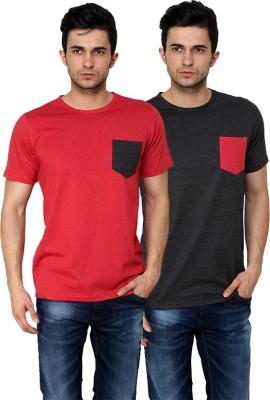 99Hunts Solid Men's Round Neck Red, Black T-Shirt
