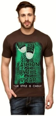 ARG CREATIONS Printed Men's Round Neck Brown T-Shirt