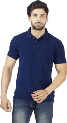Petroficio Solid Men's Polo Neck Dark Blue T-Shirt