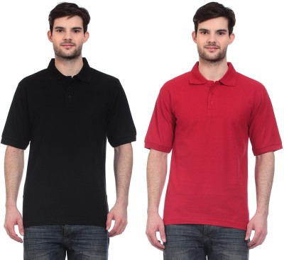 Blue-Tuff Solid Men,s Polo Neck Black, Red T-Shirt