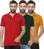 Youthen Solid Men's Polo Neck Green, Yel...