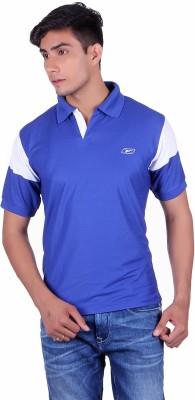 EX10 Solid Men,s Polo Neck Blue T-Shirt