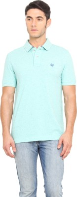 Smokestack Solid Men,s Polo Neck Blue T-Shirt