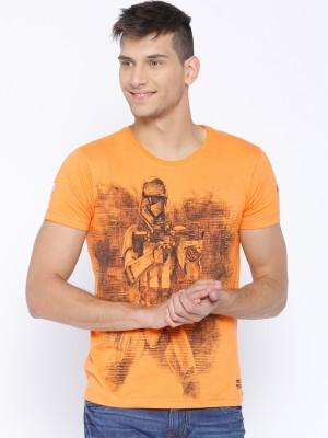 Kook N Keech Star Wars Printed Men's Round Neck Orange T-Shirt