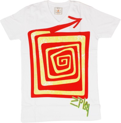 Burnout Printed Men's V-neck White T-Shirt