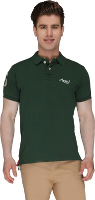 Again Vintage Solid Men's Polo Neck Green T-Shirt