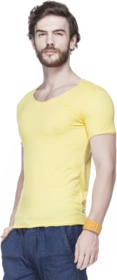 Tinted Solid Men's Round Neck Yellow T-Shirt