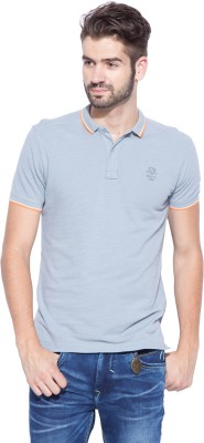 Mufti Solid Men's Polo Neck Grey T-Shirt