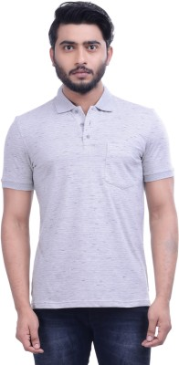 Hoffmen Self Design Men's Polo Neck Grey T-Shirt