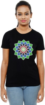 Sunakaran Printed Women's Round Neck Black T-Shirt
