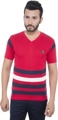 GreyBooze Striped Men's V-neck Red T-Shirt