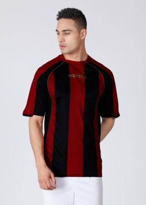 Kipsta Striped Men's Round Neck Black, Red T-Shirt