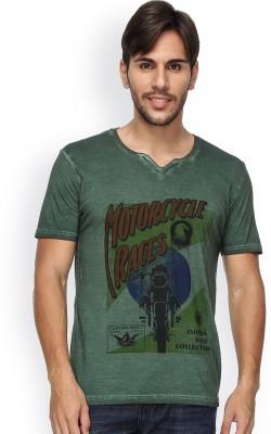 Blue Monkey Self Design Men's Fashion Neck Dark Green T-Shirt