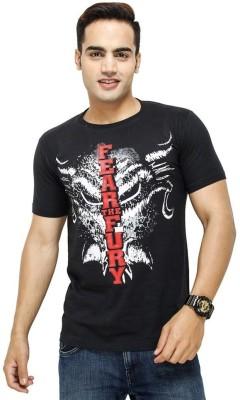 Avejack Graphic Print Men's Round Neck Black T-Shirt