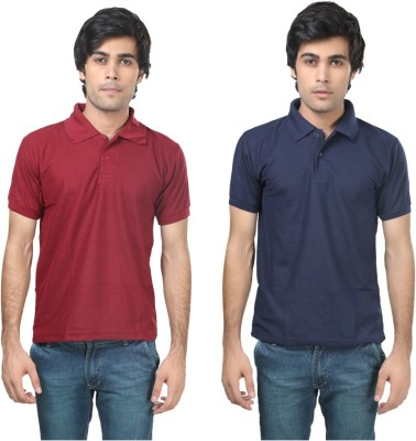 Stylish Trotters Solid Men's Polo Maroon, Dark Blue T-Shirt