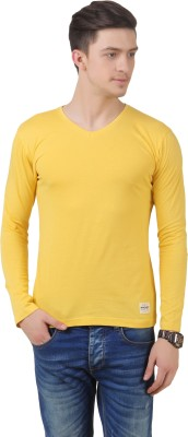 FROST Solid Men's V-neck Yellow T-Shirt