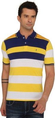 Donear NXG Striped Men's Polo Neck Yellow T-Shirt