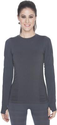 C9 Solid Women's Round Neck Grey T-Shirt