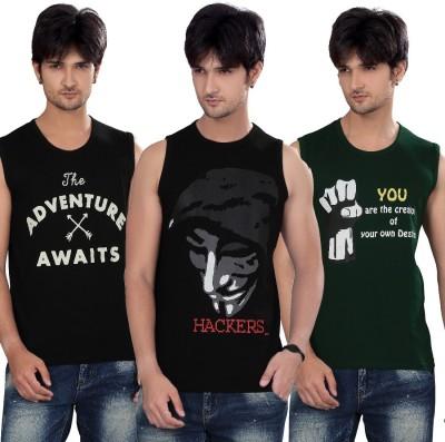 Elegance Cut Printed Men's Round Neck Black T-Shirt