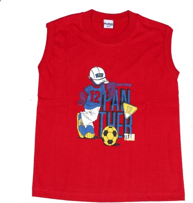 Padma Printed Boy's Round Neck Red T-Shirt