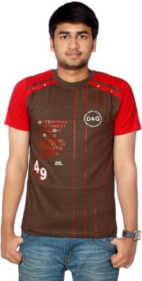 AADUKI Striped Men's Round Neck Brown T-Shirt