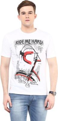 Ziera Printed Men's Round Neck White T-Shirt