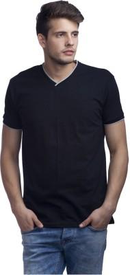 Purple Leaf Solid Men's V-neck Black T-Shirt