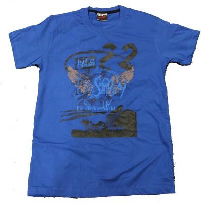 CLICKPURCH Printed Men's Round Neck Blue T-Shirt