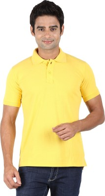 Trendster Solid Men's Polo Neck Yellow T-Shirt