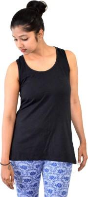 SUPRI Solid Women's Round Neck Black T-Shirt