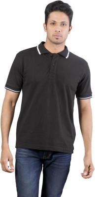 Oviyon Solid Men's Polo Neck Black T-Shirt