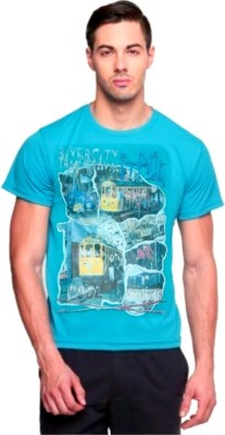 ARG CREATIONS Printed Men's Round Neck Light Blue T-Shirt