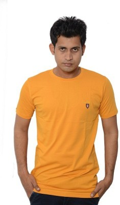 Lampara Solid Men's Round Neck Yellow T-Shirt