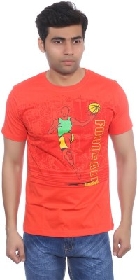 Studio Nexx Printed Men's Round Neck Orange T-Shirt